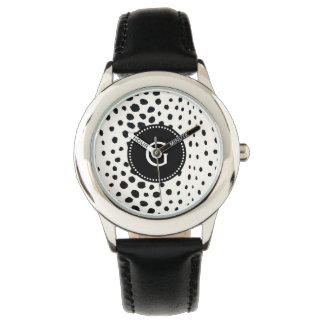 シックな白黒のチータのプリントパターンモノグラム 腕時計