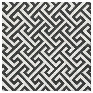 シックな白黒ギリシャ人の鍵の幾何学的なパターン ファブリック