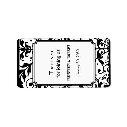 シックな白黒ダマスク織の結婚式のリップ・クリームのラベル 宛名ラベル