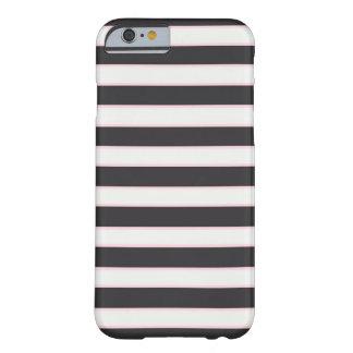シックな白黒及びピンクのストライプのなiPhone6ケース Barely There iPhone 6 ケース