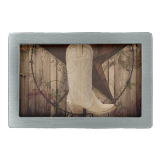 シックな納屋の木製のテキサス州星の西欧諸国の女性のカーボーイ 長方形ベルトバックル