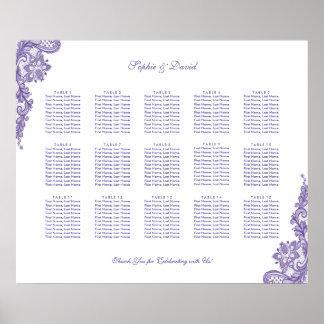 シックな紫外レースの結婚式の座席の図表 ポスター