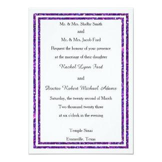 シックな紫色ののどはトリム-結婚式の招待ぴかぴか光りました カード