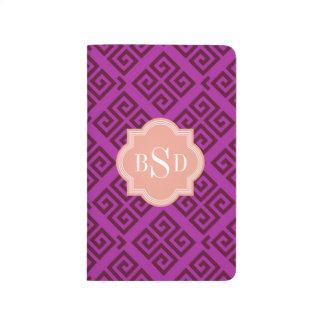 シックな紫色のガーリーなギリシャの主パターンモノグラム ポケットジャーナル