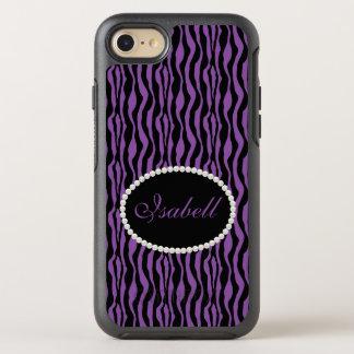 シックな紫色のシマウマのプリントのモノグラムの箱 オッターボックスシンメトリーiPhone 8/7 ケース