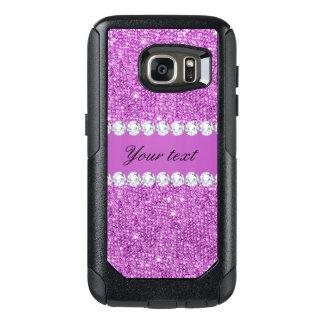 シックな紫色の模造のなスパンコールおよびダイヤモンド オッターボックスSamsung GALAXY S7ケース