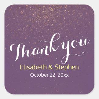 シックな紫色の金ゴールドのグリッターの輝きの結婚式は感謝していしています スクエアシール