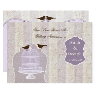 シックな紫色の鳥籠、愛鳥の招待 カード