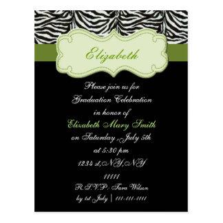 シックな緑の卒業のパーティの招待状 ポストカード