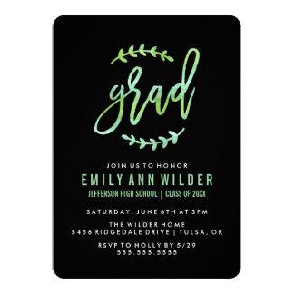 シックな緑の水彩画|の卒業パーティー 12.7 X 17.8 インビテーションカード