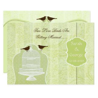 シックな緑の鳥籠、愛鳥の招待 カード