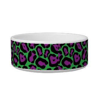 シックな緑及びPurpのヒョウのプリントのモノグラムの名前の皿 ボウル