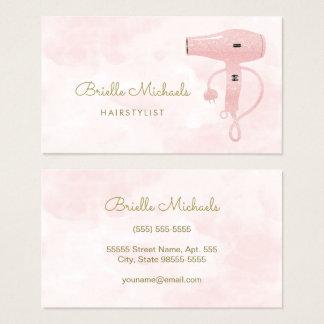 シックな美容師の柔らかいピンクの模造のなグリッターHairdryer 名刺