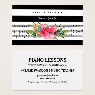 シックな花のピアノの教師のモダンな音符 名刺