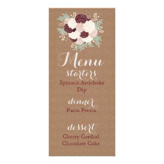 シックな花の披露宴メニュー暗いワインのアクセント パーソナライズラックカード