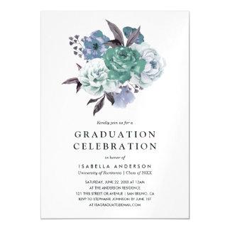 シックな花の水彩画の春の卒業パーティー マグネットカード