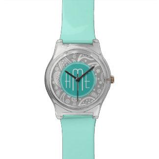 シックな花の灰色のペイズリーパターン及び青いモノグラム 腕時計