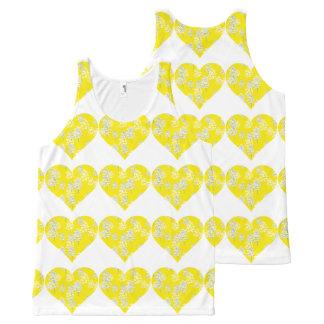 シックな花の黄色く白いハートパターン オールオーバープリントタンクトップ