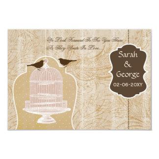シックな茶色の鳥籠、愛鳥RSVP 3.5 x 5 カード