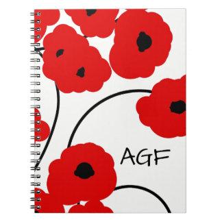 シックな螺線形NOTEBOOK_MODの赤くおよび黒いケシ ノートブック