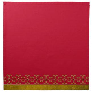 シックな赤および金ゴールドの布のナプキン ナプキンクロス