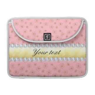 シックな金ゴールドのグリッターの雪片のピンク MacBook PROスリーブ
