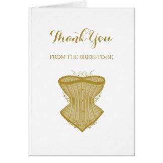 シックな金ゴールドのコルセットのランジェリーのブライダルシャワーありがとう カード