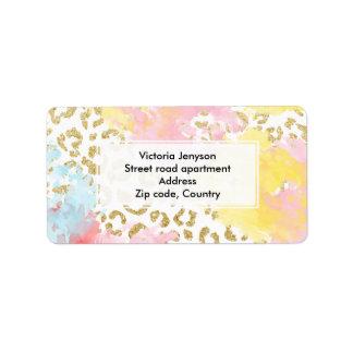 シックな金ゴールドのヒョウパターン水彩画ブラシストローク 宛名ラベル