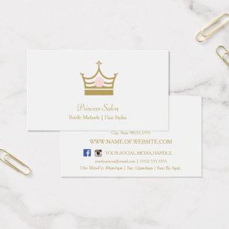 シックな金ゴールドのプリンセスの王冠のピンクのバラの美容師 名刺