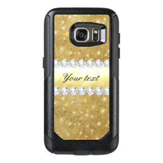 シックな金ゴールドの光っている星およびダイヤモンド オッターボックスSamsung GALAXY S7ケース