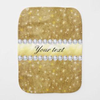 シックな金ゴールドの光っている星およびダイヤモンド バープクロス