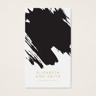 シックな金ゴールドの抽象芸術ブラシストローク名刺のパック 名刺