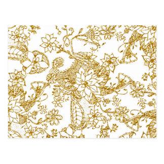 シックな金ゴールドの模造のなグリッターの手描きの花パターン ポストカード