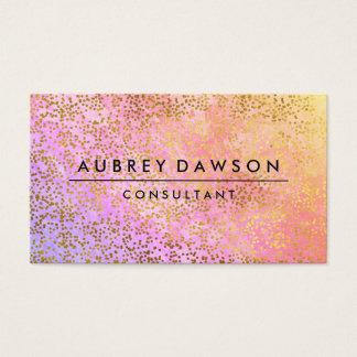 シックな金ゴールドの紙吹雪のピンクの紫色のブレンド 名刺