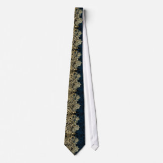シックな金ゴールドの花のレースのエレガントな濃紺パターン カスタムネクタイ