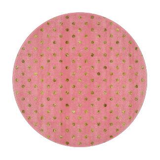 シックな金ゴールドの魅力的な、ピンクの水玉模様 カッティングボード