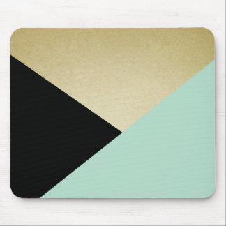 シックな金ゴールドの黒のピンクの抽象芸術パターンマウスパッド マウスパッド
