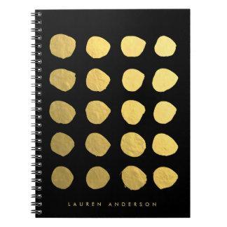 シックな金ゴールドブラシストローク点のノートジャーナル ノートブック