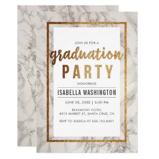 シックな金ゴールド及び大理石のタイポグラフィの卒業パーティー カード