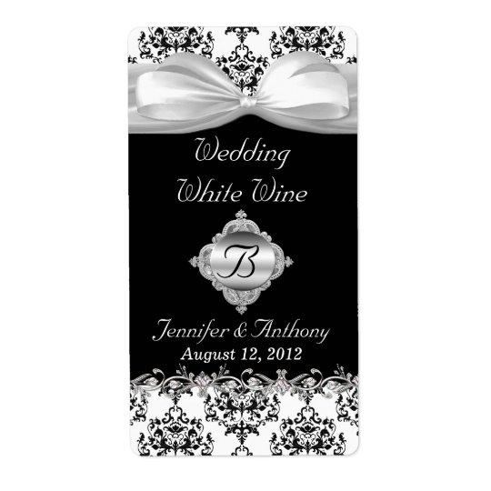 シックな黒く及び白い結婚式の小型ワインのラベル 発送ラベル