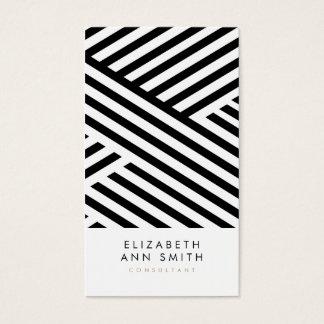 シックな黒のストライプの抽象的な名刺のパック 名刺