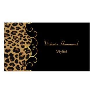 シックな黒及びジャガーのプリントの名刺