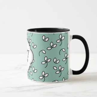 シックなCOFFEY MUG_428 SEAFOAM/WHITE/BLACKの花柄 マグカップ