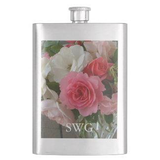 """シックなFLASK_ """"私の庭""""の-古い英国のバラの写真 フラスク"""