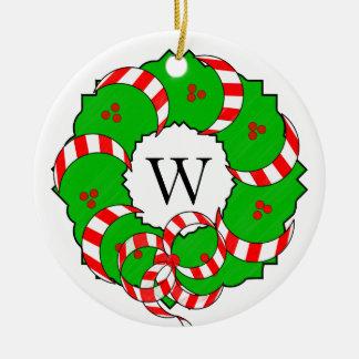 シックなORNAMENT_CHRISTMAS WREATH/MONOGRAM セラミックオーナメント