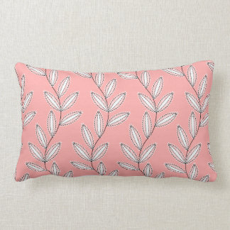 シックなPILLOW_04赤面PINK/WHITEの花柄のつる植物 ランバークッション
