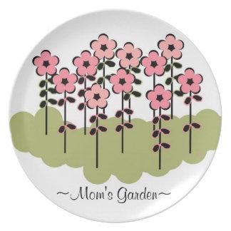 """シックなPLATE_の""""お母さんの庭""""の_PINKの花柄 プレート"""