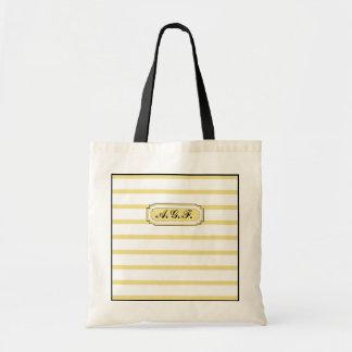 シックなTOTE_09バターYELLOW/WHITEは縞で飾ります トートバッグ