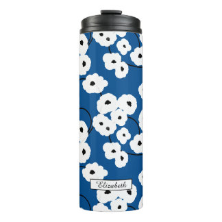 シックなTUMBLER_MODの花の白く及び黒いケシ タンブラー
