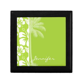 シトロンの緑の熱帯ハイビスカス; 夏のやし ギフトボックス